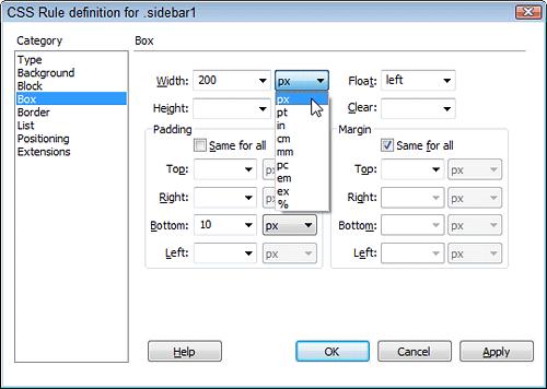 Mengedit Layouts CSS di Dreamweaver CS5   Îñfõrmâtîøñ