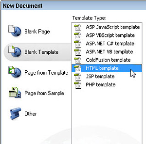 Dreamweaver template options