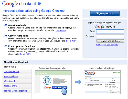 Google Checkout Set up instructions