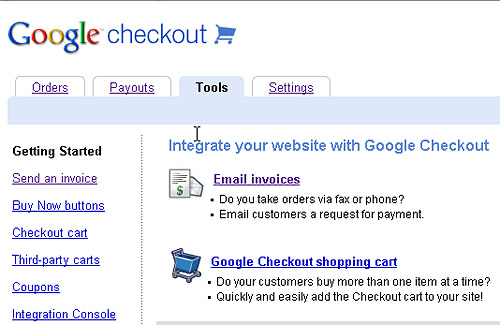 Log into Google Checkout