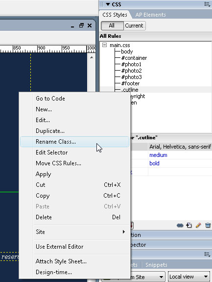 how to find redundant css in dreamweaver