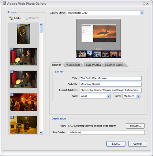 Editing a Web Photo Gallery