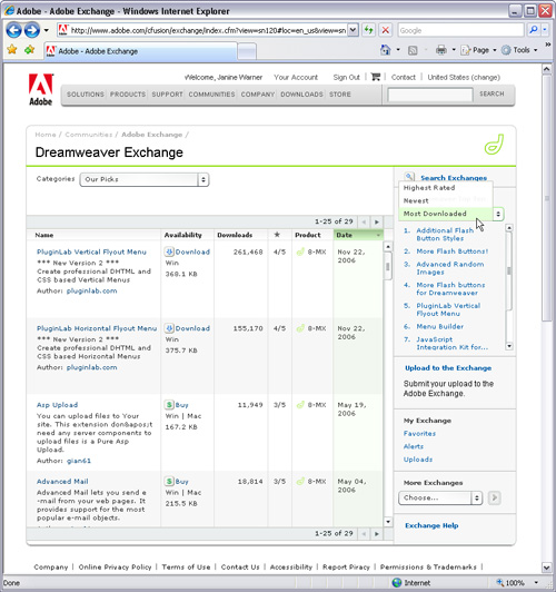 Adobe Dreamweaver Exchange Site