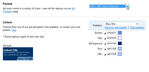 Choose Ad Sizes and Colors during Setup Proces