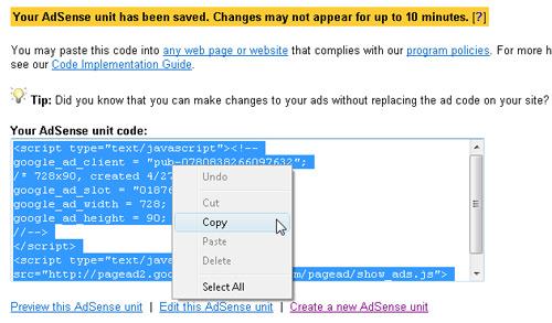 Generate Google Adsense Code