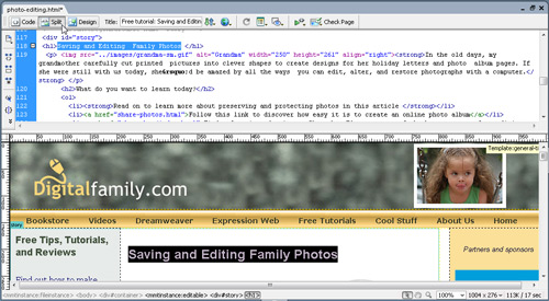hoose Split View in Dreamweaver to Display Code