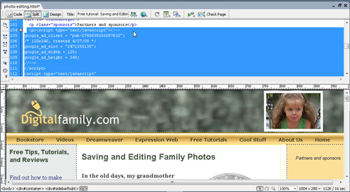 You Can't See Google Ads In Dreamweaver