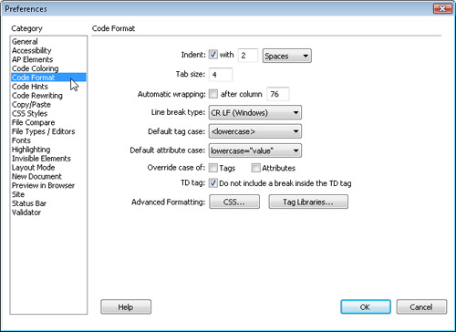 Setting Preferences for How Code Appears in Dreamweaver