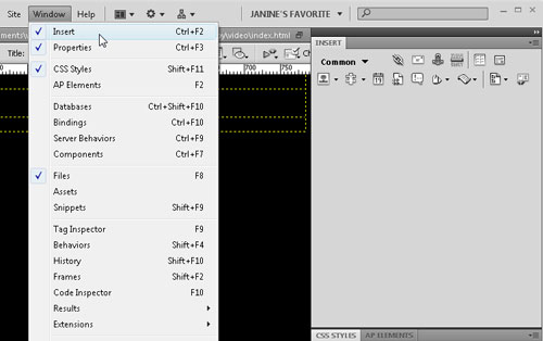 insert panel in Dreamweaver