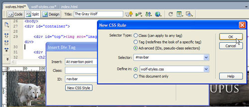 The New CSS Rule dialog