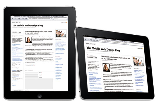 Mobile Blog Design for the iPad