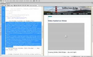 Pasting Vimeo Code into Dreamweaver