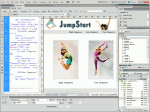 A Website open in Dreamweaver