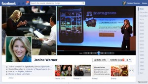 Janine Warner Facebook Profile Timeline example