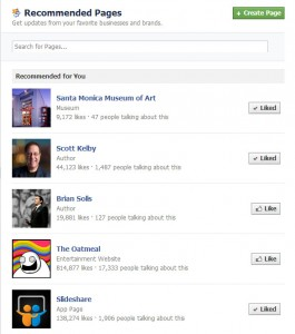 Recommended Facebook Pages
