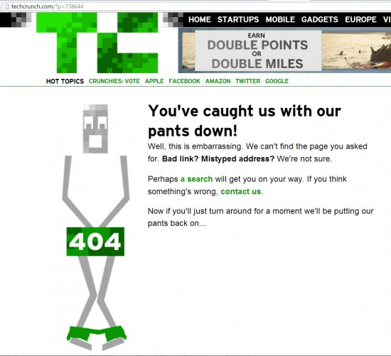 Tech Crunch 404 Page