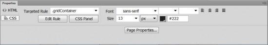CSS pane Dreamweaver Property Inspector