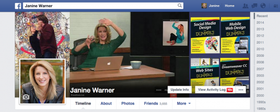 Janine Warner's Facebook profile displayed on a 24 inch desktop monitor in Google Chrome on a Mac.