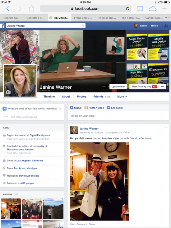 Janine Warner's Facebook profile on an iPad in landscape view.