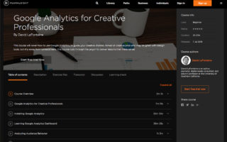 Dave LaFontaine google analytics for creative professionals training videos for pluralsight