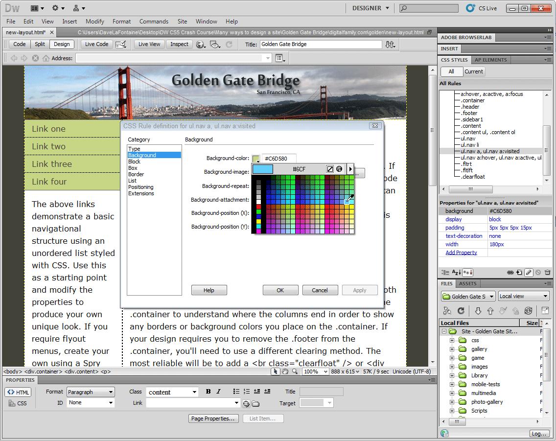 index of dreamweaver images css layout in dreamweaver cs5