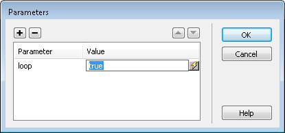 Use Parameter options to set a video file to loop (repeat)