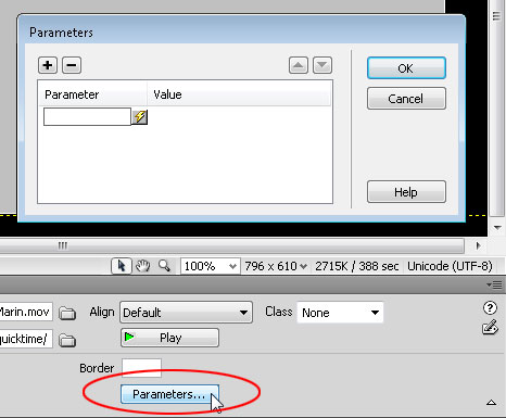 You can set more advance options using Parameters