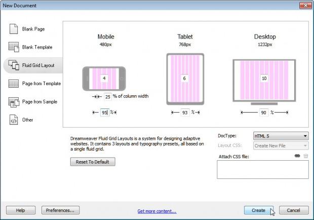 Dreamweaver Fluid Grid Layout Feature