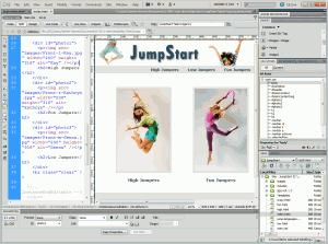 A Website open in Dreamweaver