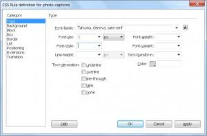 Dreamweaver CS6 Style Dialog Type Category